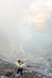 Ijen krater na wyspie Jawa, Indonezja Fotografia Royalty Free