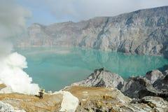 Ijen krater na wyspie Jawa, Indonezja Zdjęcie Royalty Free