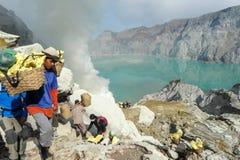 Ijen krater na wyspie Jawa, Indonezja Obraz Royalty Free