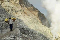 Ijen krater na wyspie Jawa, Indonezja Zdjęcia Royalty Free