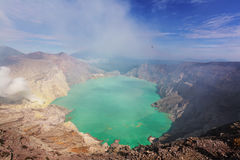 Ijen. Lake in a Crater of Volcano Ijen, Java, Indonesia Stock Image