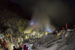 Ijen Volcano Blue flames at night view Stock Photo