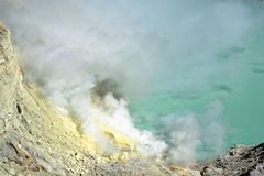 Ijen Volcano Crater in Java. The Ijen volcano complex is a group of composite volcanoes in the Banyuwangi Regency of East Java, Indonesia. It has a one-kilometre stock photos