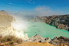 Ijen Volcano Crater in Java. The Ijen volcano complex is a group of composite volcanoes in the Banyuwangi Regency of East Java, Indonesia. It has a one-kilometre royalty free stock images