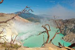 Ijen Volcano Crater in Java. The Ijen volcano complex is a group of composite volcanoes in the Banyuwangi Regency of East Java, Indonesia. It has a one-kilometre royalty free stock photography