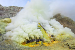 Ijen volcano crater Stock Photo