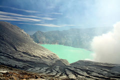 Ijen volcano in Indonesia. View to the crater of Ijen Volcano and green lake inside of it. Situated on the east of Java island,Indonesia Stock Images