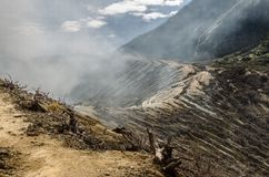 Ijen volcano. Kavah Ijen volcano - incoming path Royalty Free Stock Photo
