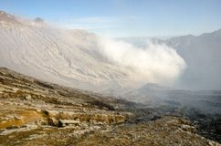 Ijen volcano. Kavah Ijen - structure of the crater wall royalty free stock image