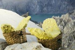 Ijen volcano. Kavah Ijen - turquoise colored acid crater lake Royalty Free Stock Image
