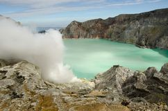 Ijen volcano. Kavah Ijen - turquoise colored acid crater lake Stock Photos