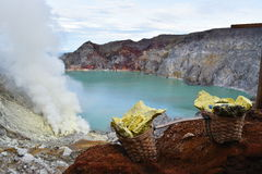 Ijen vulkan, Java, Indonesien Royaltyfria Bilder