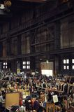 The Ijhallen market in the NDSM hall. September 2014, NDSM, Amsterdam Noord. The monthly Ijhallen weekend flee market in the old ship factory, the NDSM Hall Royalty Free Stock Images