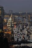 The Ijhaven at the time of the Sail Amsterdam 2015. Amsterdam, the Netherlands - August 19, 2015: Night view of the Ijhaven port at the time of the SAIL 2015 ( Stock Images