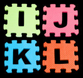 IJKL Alphabet learning blocks isolated Black Stock Images