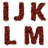 IJKLM, Buchstaben des englischen Alphabetes, gemacht von den Kaffeebohnen, im Schmutz Stockfoto