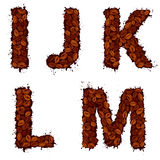IJKLM, english alphabet letters, made of coffee beans, in grunge. Style,  on white background Stock Photo