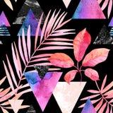 Ijlen de waterverf exotische bladeren, grunge texturen, krabbels naadloos patroon binnen kleuren vector illustratie