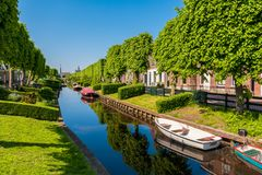 IJlst Friesland Netherlands. View on the village of IJlst, Friesland, Netherlands on spring day Royalty Free Stock Photos
