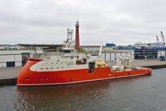 Ijmuiden holandie Na morzu zaopatrzeniowy wysyła Despina przy jej cumowaniami w porcie Ijmuiden - Maj 10th, 2018 - Fotografia Stock