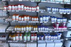 IJmuiden Nederländerna, Juli 4th 2018: olika vitaminer Arkivbild