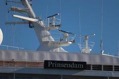 IJmuiden Nederländerna - Juni 30 th 2018: Prinsendam av Holland America Line Royaltyfria Foton