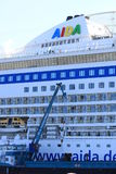 IJmuiden, the Netherlands -April 29th, 2017:   Aida Luna docked at Felison Cruise Terminal IJmuiden Stock Photography