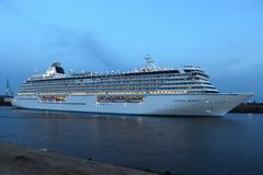 IJmuiden, the Netherlands -July 27th 2018: Crystal Serenity owned by Crystal Cruises. Leaving IJmuiden sea lock stock photos