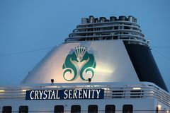 IJmuiden, the Netherlands -July 27th 2018: Crystal Serenity owned by Crystal Cruises. Leaving IJmuiden sea lock. Detail of funnel with company logo stock image
