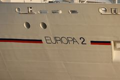 IJmuiden, the Netherlands -July 27th 2018: MS Europa 2, operated by Hapag-Lloyd Cruises. Leaving IJmuiden sea lock, detail of bow and name stock photo