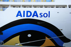 IJmuiden, The Netherlands - May 27, 2015: AIDAsol, detail Stock Photos