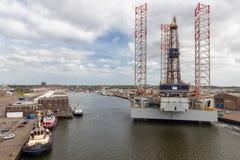 Dutch harbor IJmuiden with drilling platform for maintenance. IJmuiden, The Netherlands - May 17, 2018: Drilling platform for maintenance in harbor IJmuiden Stock Photos