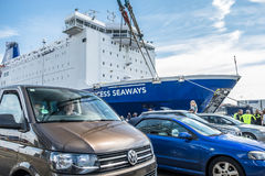 Ijmuiden, Netherlands - May 14 2017: Passengers are waiting to get on the Princess of seaways ferry. To Newcastle royalty free stock photography