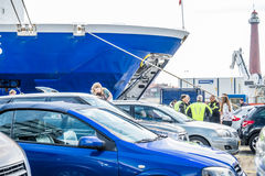 Ijmuiden, Netherlands - May 14 2017: Passengers are waiting to get on the Princess of seaways ferry. To Newcastle stock image