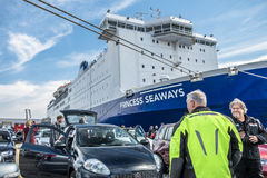 Ijmuiden, Netherlands - May 14 2017: Passengers are waiting to get on the Princess of seaways ferry. To Newcastle stock photo