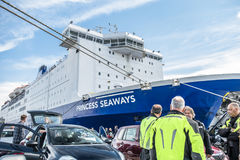 Ijmuiden, Netherlands - May 14 2017: Passengers are waiting to get on the Princess of seaways ferry. To Newcastle stock images