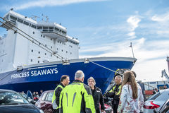 Ijmuiden, Netherlands - May 14 2017: Passengers are waiting to get on the Princess of seaways ferry. To Newcastle stock photography