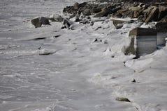 Ijs behandelde hudson rivier, de stad van New York Stock Afbeelding