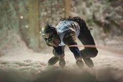 Ijs dat het Kampioenschap Busteni 2010 beklimt van de Kop van de Wereld Stock Fotografie
