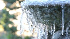 Ijs die en van een Bevroren Steen smelten het druipen beeldhouwde Fontein in Tuin op de Koude Winter Dag 1080p stock footage