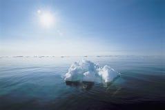 Ijs die in oceaan drijven Royalty-vrije Stock Foto