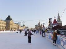 Ijs die op het Rode Vierkant schaatsen Stock Foto