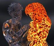 Ijs en brand 3d illustratie stock illustratie