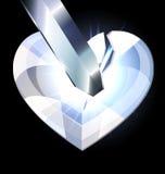 Ijs hart-kristal en blad Royalty-vrije Stock Foto