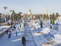 Ijs het schaatsen piste in de winter Moskou Royalty-vrije Stock Foto's