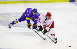 Ijs-hockey spel de Oekraïne versus Polen Royalty-vrije Stock Fotografie
