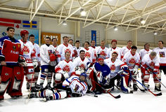 Ijs-hockey teams na gelijke Royalty-vrije Stock Foto's