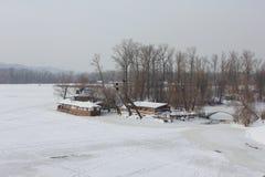 Ijs op de rivier Stock Foto