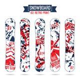 Ijs retro druk voor snowboard Royalty-vrije Stock Afbeelding