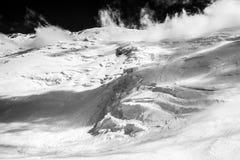 Ijs, sneeuw, hemel en bergen in Pamir Royalty-vrije Stock Foto